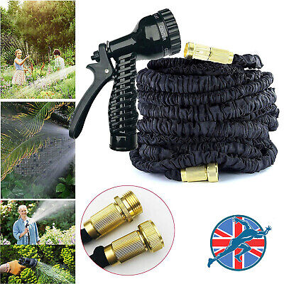 Expandable Flexible Retractable Garden Hose Pipe Expanding Fittings + Spray Gun