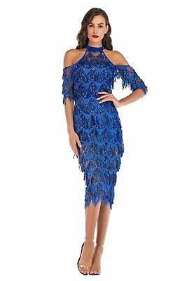 02305e3e8fa Short Halter Tassel Cocktail Party Dresses Bodycon Cold Shoulder Holiday  Gowns