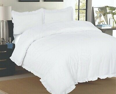 White Frilled Plain Dyed Duvet Cover Set With Pillowcases Single Double King