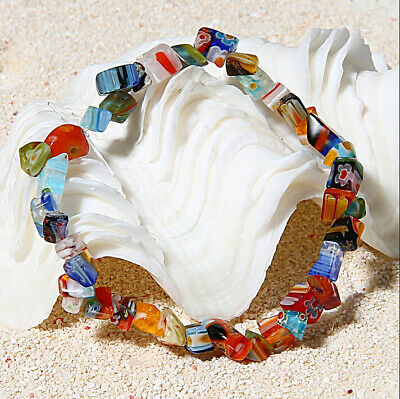 Handmade Colorful Natural Stone Bead Bracelet Bangle Yoga Women Vintage Party