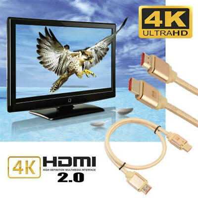 Premium Braided Ultra HD HDMI Cable v2.0 High Speed Lead HDTV 2160p 4K 3D Hot