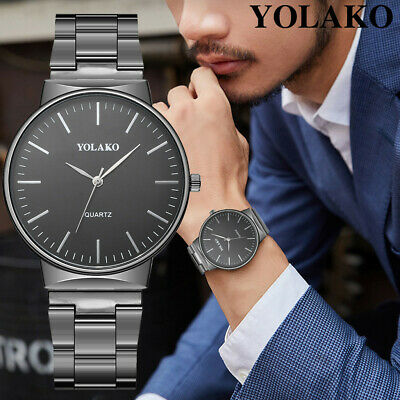 Men's Casual Simple Style Quartz Watch Stainless Steel Band Analog Wrist Watch