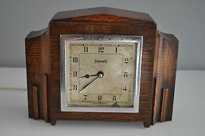 ferranti mantel art deco electric clock in mahogany / OAK VINTAGE ANTIQUE