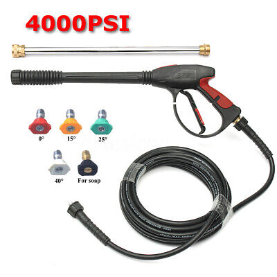 4000PSI High Pressure Water Washer Spray Gun and 8M Hose Extend Wand & 5Tips