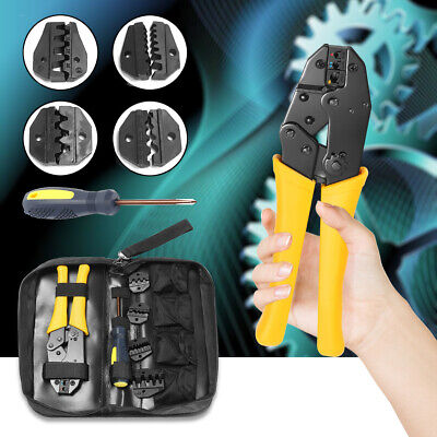 Insulated Terminals Electrical Crimping Plier Ratcheting Crimper Tool 5 Dies