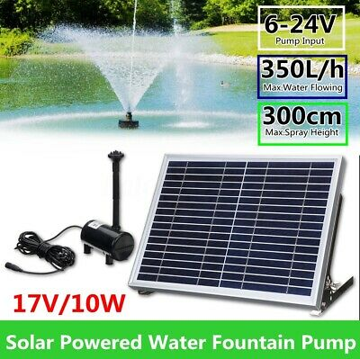 10W 17V Solar Powered Fountain Submersible Water Pump Pond Garden Watering