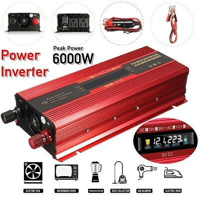 3000W/4000W/6000W LED Solar Power Inverter DC12/24V to AC110V/220V Car  ❤
