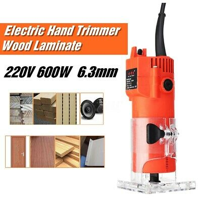 600W 1/4'' 6.3mm Electric Hand Trimmer Wood Laminator Router Joiners Tool
