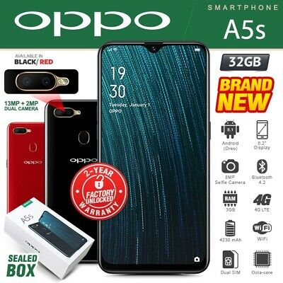 New&Sealed Factory Unlocked OPPO A5s Black Red 32GB Dual SIM Android Smartphone