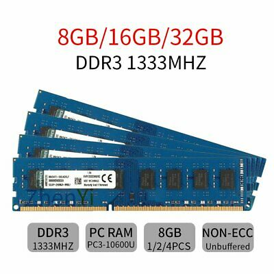 Per Kingston 32GB 16GB 8GB PC3-10600U DDR3 1333Mhz KVR1333D3N9/8G DIMM RAM IT