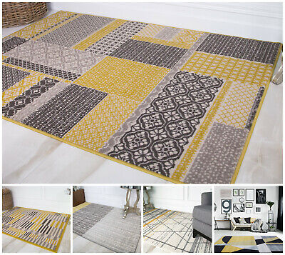 Contemporary Mustard Sunflower Yellow Area Rugs Non Shed Cheap Geometric Rugs UK