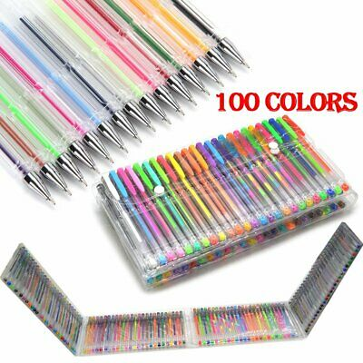 100xColor Gel Pen Refill Set Adult Coloring Book Ink Pen Draw Painting Craft Art