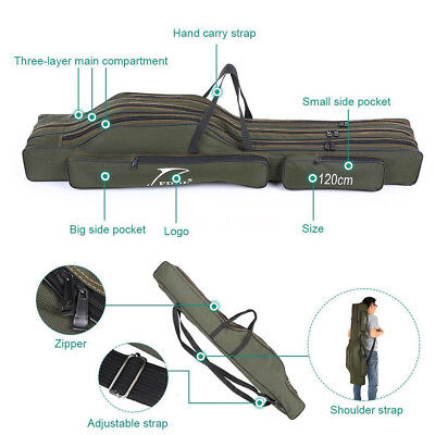 Rod Holdall Carp Fishing Bags Folding Padded Tackle Reel Storage Case 120cm