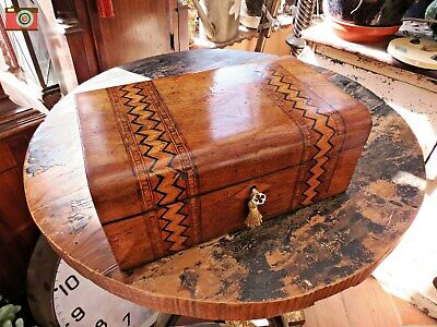 Victorian Jewellery Box With Parquetry Inlays. Restored Interior. Lovely Box
