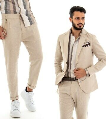 online retailer 8c2b4 5d6b2 COMPLETO ELEGANTE UOMO Casual Outfit Giacca Pantaloni In Lino Beige GIOSAL