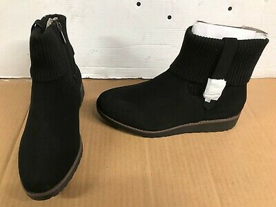 122786ea9a15c Evans Alpine UK 6 EEE Extra Wide Fit Black Faux suede Zip Up Ankle Boots  wedge
