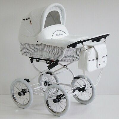 Scarlett White Retro Wicker Baby Pram Pushchair Travel System 2in1 Classic