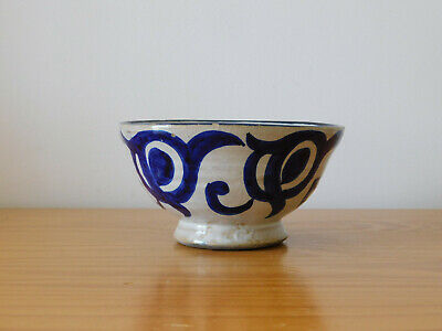 Old Antique Persian Islamic Blue Glazed Ceramic Pottery Bowl