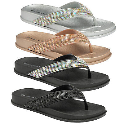 Dunlop Womens Soft Low Wedge Casual Toe Post Summer Slippers Beach Comfort Shoes