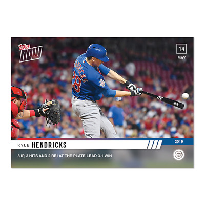2019 Topps Now #226 Kyle Hendricks 8Ip And 3 Hits And 2 Rbi For Win Cubs