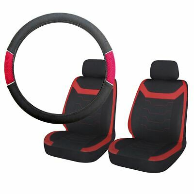 Red & Black Steering Wheel & Front Seat Cover set Honda Civic Saloon