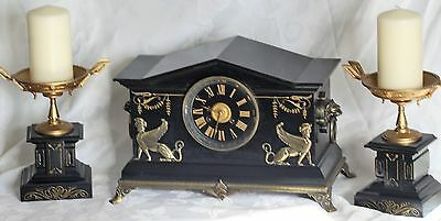 antique french marble Greek empire garniture clock