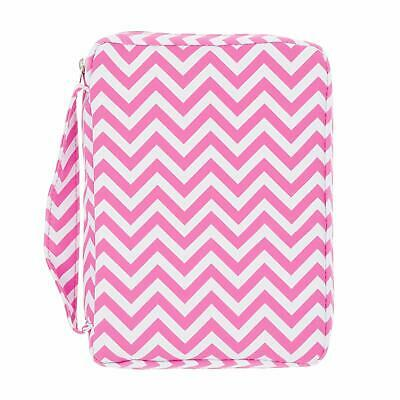 PINK BIBLE COVER Chevron Stripes Holy Book Tote Pocket Zipper Soft Carry Case