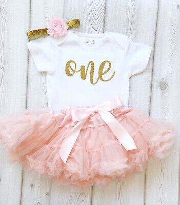 Baby Girl 1st First Birthday Tutu Peach Pink Gold 1st Cake Smash Outfit