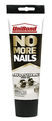 UniBond No More Nails Invisible, Heavy-Duty Clear Glue, Strong Glue for Wood, 1