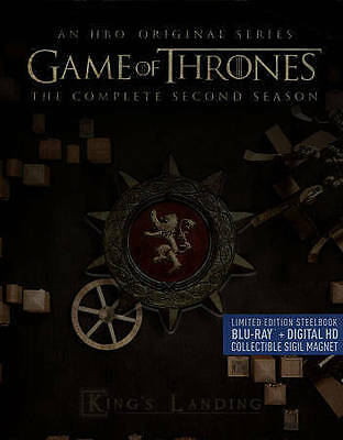 Game of Thrones: Complete Second Season 2 (Blu-ray, 2015, 5-Disc Set, Steelbook)