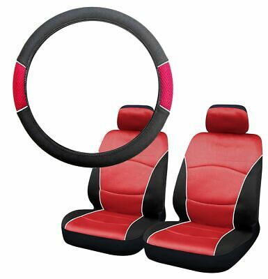 Red & Black Steering Wheel & Front Seat Cover set for Audi TT