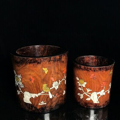 Chinese antique huanghuali wood Set Nut flowers and birds Pen container a set