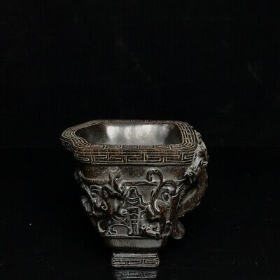 "4"" Chinese Delicate old antique Ox horn hand carved beast pattern Cup statue"