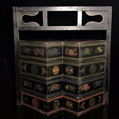 """16"""" Chinese old antique Lacquer ware wood handmade fu shou pattern foot Box"""