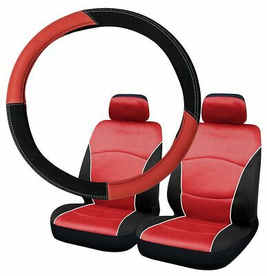 Red & Black Steering Wheel & Front Seat Cover set for Alfa Romeo Mito 09-On