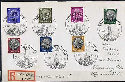 Germany 3rd Reich Alsace 1940 Mi 10-16 Hindenberg definitive stamps on cover