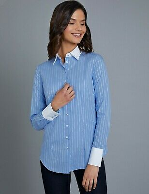 09ad4d00 Hawes & Curtis Women's Formal Long Sleeve White Stripe Fitted Single Cuff  Shirt