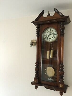 AUSTRIAN ANTIQUE VIENNA REGULATOR WALL CLOCK weight & true seconds dial ROSEWOOD