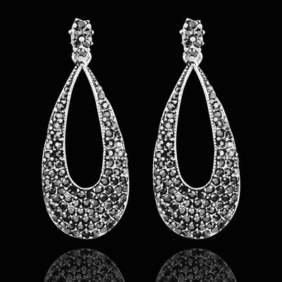 Vintage Silver Black Hollow Drop Earrings Tiny Cubic Zirconia Dangle For Women