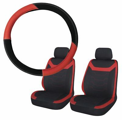 Red & Black Steering Wheel & Front Seat Cover set for Vauxhall Meriva All Models
