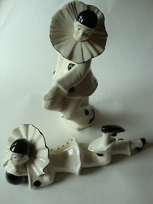 Vtg Ceramic Pierrot Harlequin Clowns Figurines Pair Black White Ruffled Collar