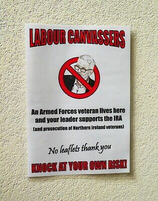 British Armed Forces Veteran Anti Labour Party Anti Corbyn A5 Front Door Poster