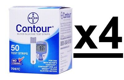 Bayer Contour Blood Glucose Test Strips 200 Ct 4 Boxes Exp 11/2020+-Depend On Us