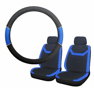 Blue & Black Steering Wheel & Front Seat Cover set for Jaguar XF All Years