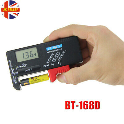 BT-168D Digital Battery Tester Volt Checker 9V 1.5V Button AA AAA Cell
