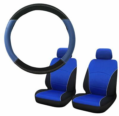 Blue & Black Steering Wheel & Front Seat Cover set for Fiat Panda 04-On
