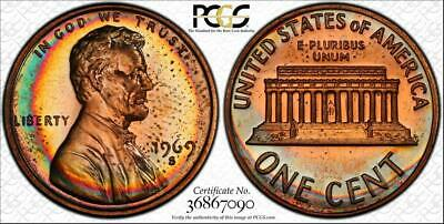 1969-S 1  Cent Lincoln Memorial Penny Pcgs Pr64Rb Beautiful & Circle Toned!