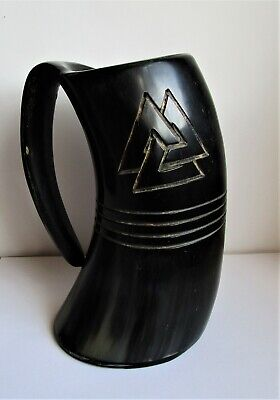 """Engraved Handmade Large Game of Thrones style Drinking Real Horn Tankard 7½"""""""