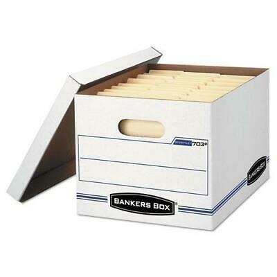 BankersBox Stor-file Storage Box, Letter-legal, Lift-Off Lid, White, 6-pack