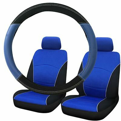 Blue & Black Steering Wheel & Front Seat Cover set for Seat Alhambra All Models